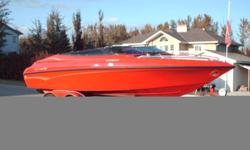 1997 Crownline Boat & Trailer, Bright Ruby Red, Model 202BR, 5.7 Litre Bravo111, Dual S/S Prop, Depth Finder, Decking Lights, Bimini Top, Bow & Cockpit Covers,Stored Indoors, 2nd Owner , Excellant Condition, Will consider Trade For Skid Steer or Bobcat