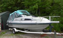 """Marvac brand (made in Quebec) 19'-4"""" cuddy cabin cruiser with V berth, 8'-6"""" beam. Single axle trailer, 4.3 ltr. OMC Cobra engine and outdrive, Outdrive rebuilt, refinished interior, ice box, radio, GPS / fishfinder available (not included in price),"""