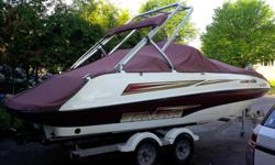 22 foot boat in excellent condition with 2 Engine 155Hp (no supercharge) 4 time cooled with 2 radiators, Wake tower that folds and pole for Skie, Binini roof, and storage fabric (transport) Double trailer with brakes, entirely renovated 2006 boat Bateau