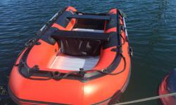 "Selling Dingy with Engine Dinghy Stryker Ranger LX 320 (10' 5"") Used only this summer. Comes with wheels and all accessory's. No damages, perfect condition and its a great Dinghy!!!! hard floor very stable. Engine, is a 1990 Johnson 8HP 2 stroke with a"