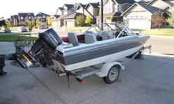 16ft Fibretech boat. This boat can pull skiiers and tubes - plus it's an excellent fishing boat with the included rod holders and custom captains chair up front. Swivel seats in excellent condition. Solid motor maintained every year. We 'loved this boat