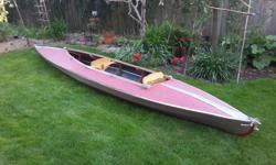 17' Folbot two seater in good shape. Aluminum frame model. Includes 2 paddles. Call Barry.