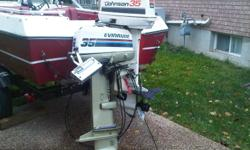 Combo-Johnson 35 with controlers,new prop.excellent working condition. Envirude 35,with controllers,doesnt work,not sure what is wrong. Reason to sale, bougth a bigger  motor.