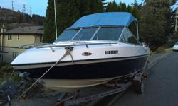 17.5ft custom built fiberglass boat, great condition, with tons of storage, a full top with sides and slope back. It includes a 75hp 2000 Yamaha 2 stroke, carborated, oil injection. Pushes the boat Very well, cruises nicely at 25mph. It has a 70L fuel