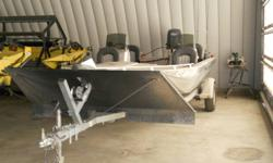 Explorer 162 DC Jet Boat manufactured by Explorer Industries, Edmonton, AB. Comes with Yamaha 60/40 Jet (approx 64hrs), EzLoader 15-16' trailer, galvanized. Custom built (by owner) galvanized stone guard. Front console jump seats. This jet boat is great