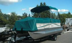 "Attractive 18'3"" Pontoon boat, Model: Mirage CRS 818 by Sylvan. Comes rigged with Bimini top, full playpen cover, windscreen, docking lights, built in fuel tank and boarding ladder, Lots of seating. Included is a Mercury 40 hp 4Stroke Big Foot outboard"