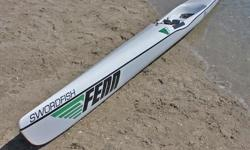 """Fenn Swordfish Surfski for sale. Used only a handful of times. Garage stored. In great condition with minimal wear and tear. Comes with paddle. Dimensions: 20' long and 18"""" wide"""