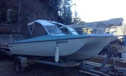 Comes with trailer four cylinder murcruiser engine. Blue apholstery. Moving and must sell. Great Kootenay lake cruiser. really cheap on fuel. Please phone if interested as we have no internet.