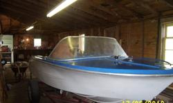 12 ft,fiberglass,need seats, Year of boat only a guess, motor ,$300.00 extra, trailer not for sale.