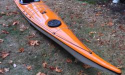 Skerray Kayak by Valley. British style boat in fiberglass with small cockpit, and no skeg or rudder. Makes for lots of room in the back hatch for gear. Built in compass and pump. Brand new hatch covers. Comes with two one piece paddles by Lendal and