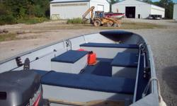 Princecraft (1995) 14ft aluminum fishing boat with matching trailer, full floor, live well, storage compartment, lights and full tonneau cover. 1999 15hp Johnson 2 stroke, both in very good condition $3700 please call 905-632-4950, 705-756-1826