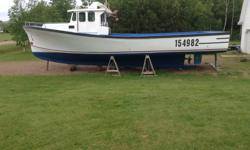 Built in 1995 by Donelle Boat Builder. Boat is fiberglass over wood inside and out. Length 43 feet. Engine 210 Cummins bought in 2007 with a 506 Transmission. Engine has 7653hour with a 4 wing blade 28 x 25. Includes: VHF, Antenna, Boom, hauler and