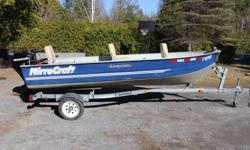 $4,500 or best offer - 14 foot Aluminium Mirrocraft fishing boat with 20hp Mercury motor (4 strokes), and Minn Kota electric motor, with trailer - 3 new seats - lights - protection tarp, spare tire, gaz tank, no leaks, wide and deep.