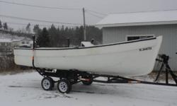 Boat: 21 foot fibreglass boat, 8 foot wide, steering wheel, fishfinder, bilge pump   Motor: 90hp Evinrude, mint condition, very little use, power tilt, electric start, controls hooked up and operational, new marine battery, 3 gas cans, new propeller