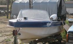 for sale 16 ft boat ,motor trailer, cover. good shape. no leaks two newer seat. $650.00 OR OBO. 40PH MOTOR