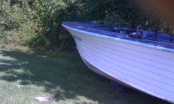 I have a blue and bottom white 20ft. boat for sale with inboard /outboard motor on it a 165H.P. Mercruiser on it ;It need a battery if u like to hear it run and seats with cushions as well as a winshield as well, if u want to get her on the water,unless u