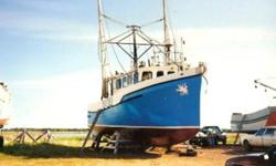 "FOR SALE ""Blue Dove"" 44ft x 17ft Fiberglass Trawler & Crabber Fishing boat for sale- Excellent Price!!!!! Very Good condition! 37 gross tonnage, figerglass hull with wooden structure covered with fiberglass. 300 hp Volvo diesel motor. Lower cabin sleeps"