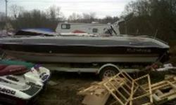 This boat is in good shape for the year. Its 20 ft long, has lots of seating. The engine is a 4.3 litre V6 inboard outboard with an OMC outdrive. Color is grey and black, comes with a roller trailer. The interior is in fair condition and could use some
