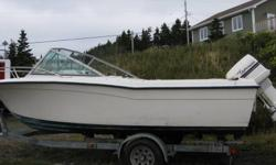 GRADY WHITE 19 ft TOURNAMENT BOAT . 150 horsepower Johnson motor. and a Nor Easter Trailer. ( Lots of call saying they are comming to see . But so far 1 viewer ) boat is all Factory FiberGlass or molded plastic, Power Trim, Fish Finder ,Can be heard