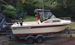 For sale is our Grady White 205 Gulfstream Walkaround. Engine is a 350 Chev with a 280 Volvo leg. Edelbrock carb, air gap manifold, Thunderbolt ignition etc. If you are looking for a serious fishing boat, this could be it. Over the past few years it has