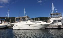 THIS IS A GREAT BUY !!! A Cruiser perfect for the Gulf Islands! Low Hours,on 5.7 Litre with Bravo lll , Duo Prop. A v-berth and an aft double berth sleeps 4, with the addition of a convertible dinette. The Galley includes a microwave and an Alcohol /