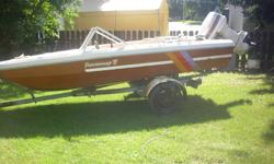 1976 peterborough boat with a 1982 60 hp johnson motor, runs super , great for fishing, trolling, skiing, etc,  new prop, comes with used prop, seats six, walk in front, also has tilt. 306-843-3247