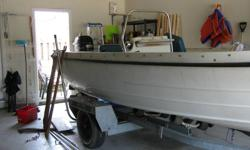 17 1/2 FT. KMV OLIVER BOAT WITH A MERCURY 45HP CLASSIC 50 OUTBORD MOTOR (WITH TRAILER).....AS IS!