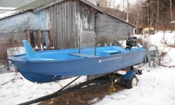 perfect boat for the upcoming trout season. comes complete with trailer 5h.p. 4 stroke parsun outboard and 13ft. fiberglass boat. boat and trailer are in good shape. outboard is 2009 model parsun 5h.p. 4stroke with very very few hours. perfect all around