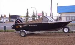 The boat has fully enclosed camper sloper top with front and rear access, walkthru windsheild, travel/storage cover, 90hp ELPT 4 stroke Mercury engine, stainless steel prop plus aluminum spare prop, marine CD stereo, depth sounder, windshield wiper,