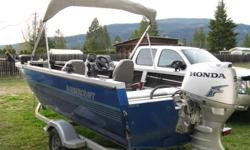 2004 1625 all welded aluminum harbercraft fishin boat with a 7ft beam , 2004 50hp honda 4 stroke with electric tilt ,sittin on a 2004 karavan trailer price includes, 525 hummingbird fishfinder with temp , scotty rod holders,scotty electric downrigger