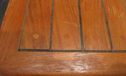 """Hand made, Teak hatch cover, with flange, almost 2"""" thick, has never been used, measures 18"""" square"""
