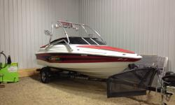 """Very clean and great shape. 260 HP 5.0L Fuel Injected Merc. 18'. Very powerful and great for towing. Professionally installed wakeboard tower and stereo. 2 amps and 4 tower speakers with a 10"""" sub under gauges. 4 tower lights. 2 wakeboard racks. Tinted"""