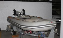 Inflatable 12 Ft Avon with 5 HP four stroke Honda Outboard on Highliner Trailer includes lots of extras; Motor Mount, custom made seats, under seat compartments and bags, and many extras..... including all weather cover...
