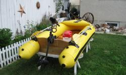 Sevylor wood floor & transom ,480 lb. capacity,7.5 max. outboard ,30lb. trolling motor included . What you see in pictures is included ( no battery).