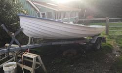 King Fisher Four Sail Boat and Galvanized trailer, Aprox 20 years old, Fiberglass in excellent shape, Flotation tanks, 4 foot keel, 20 foot sail in great shape, Never been in salt water. Call Geoff 250-246-4238 or 250-246-0121