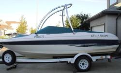 This 18 1/2' Larson boat is in awesome shape! - seats 10 - includes cover as show in photos - also includes a matching additional storage cover - an inboard 4.3 motor (sounds awesome) - monster tower - wake board rack - plenty of on board storage - stero