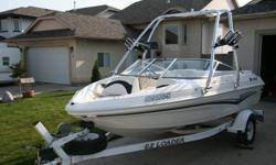 I am selling my 18 foot Larson Sport 180, 4.3 Litre,V6,190 HP inboard/out board, Intergrated swim platform,boarding ladder,snap in carpets ( not shown), floor storage,storage in bow and engine compartment also , glove box, 12 volt receptacle , Cd player,