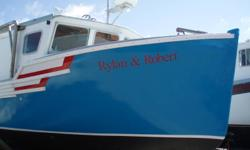 36ft fibreglass boat 15 1/2 feet wide 14  1/2 feet wide on stern built in 2005 new 318 hp. volva penta engine in 2006 will sell with or without electronics.