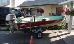 NEW PRICE>>>REDUCED!!14' Lund Aluminum boat and Trailer. New hand winch with aircraft cable.  New oars, 'bearing buddie' hubs, soft swivel seat and folding seat. Brand new submersible trailer lights. New spare tire and mount and newer tires on trailer,