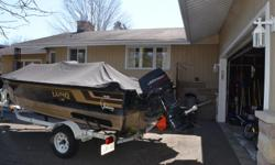 Equipped with a 70hp 2 stroke Johnson (1997) and a 4 stroke 9.9 Evinrude (1996) connected with an EZ troll bar. Both motors regularly maintained with tune ups at the end of 2015. Up front is a 54 lb Motor Guide electric with a foot control and a Lowrance