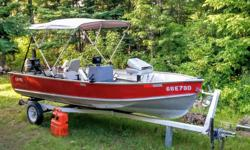 16.6' Lund Bass Boat with Trailer, rebuilt 25hp engine. Comes with like New (1 season old) Bimini cover. Newly carpeted floors with pressure treated ply. 3 seats, New gas tank and hose, storage space....trailer in great shape and included with boat, all