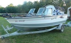 Multi purpose boat great for the whole family, full walk thru windshild, 115hp yamaha 4 stroke, ski bar, bow cushions, easy loader trailer, live well. Low hours on motor. Fish finder, full canopy cover, rod holders, and trolling motor.