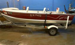 I have a 14ft Lund SSV with a 15hp Fourstroke Suzuki motor with electric start and a galvanized trailer.  The boat has factory floor, 3 swivel seats, rod holders and lights.  Everything is in great shape.  Call or email if interested.  Great deal.