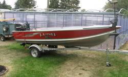 BOAT BOUGHT BRAND NEW BEEN USED ABOUT 6 TIMES ,COMES WITH BRAND NEW TROLLING MOTOR,OARS,ANCHOR,25HP MERCURY 4 STROKE OUTBOARD WITH ABOUT 20HRS ON IT.MOTOR IS 2006,COMES COMPLETE WITH FUEL TANK.