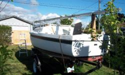 MacGregor Venture 17 sailboat with cabin. $1,700 price includes 3 sails, trailer, 4.5hp Mercury outboard & trailer. Sleeps 3, swing keel. Currently located on 10th Ave in Port Alberni - call anytime for appt.