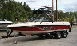WOW...VLX Wakesetter Malibu boat with trailer and cover Low Hours <220 hours HEATER, WEDGE,Tripple ballast, GREAT STEREO SYSTEM W/TOWER SPEAKERS, WAKEBOARD RACKS, BIMINI TOP, AND MORE!! POWERED BY A 340HP MONSOON! Award-winning performance. The Wakesetter