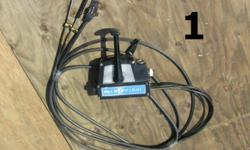 #1 > Mid 80's Merc (6 pin harness/choke button/ tach plug-in and 12' cables,needs key) $100 #2 > Old Merc '60's ( 18' cables) $75 #3 > Twin Mercruise ( chrome pitted/ 16' / 18' / 19' and 20' cables ) $150 #4> Mid '70's Merc (12' cables / harness / key )