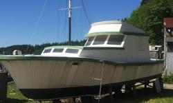1961 Canoe Cove 38' Fibreglass Hull c/w 2 NEW not Rebuilds 351 Ford Windsors Fresh Water Cooled..New Head+Maserator Stuffing Boxes-Machined Props-Pitched Shafts Aligned-In Cabin Heat-Windows-Door Aluminium Railing for Bow-Superstructure Needs Some