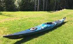 "Necky Elias touring kayak. 15.5 feet in length, 22.25"" width, 199.2L storage capacity. Great for day touring and multi day trips. Touring seat with backband, comfort fit thigh braces, bow and stern quick seal hatches with cross lock buckle system and"