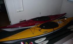 2 Necky Manitou 13 composit kayaks. Complete package for two kayaks, paddles, paddle floats, life jackets, spray skirts touring and sealed, travel skirts. asking $3350 obo